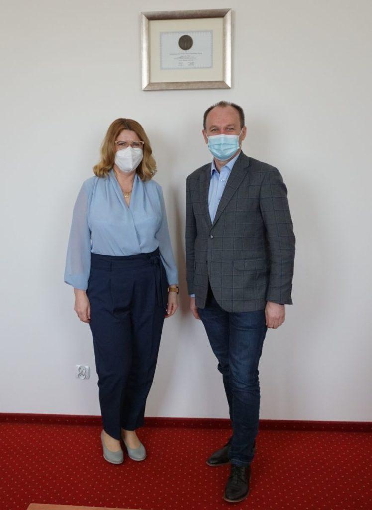 JM Rektor MUP Oświęcim dr Sonia Grychtoł, prof. MUP z Posłem na Sejm Markiem Sową